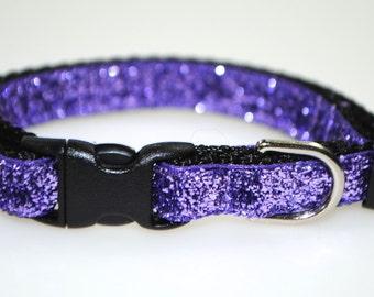 "Metallic Purple Glitter -  3/8"" Adjustable Dog Collar"