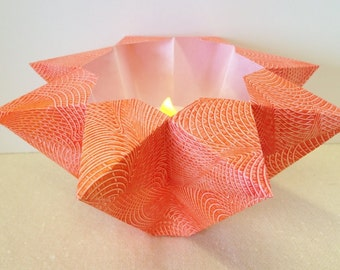 Hand-painted Origami-folded Large Orange Luminary
