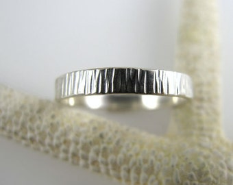 Sterling Ring, Textured, Silver Stacking Ring, Bark Textured
