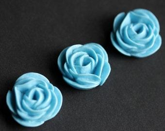 Blue Flower Refrigerator Magnets. Set of Three. Blue Rose Flower Magnets. Handmade Home Decor.