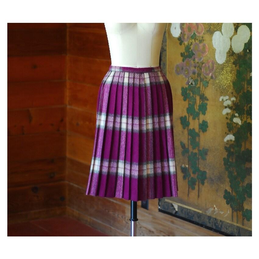 vintage 1950s purple plaid pleated skirt size xs small