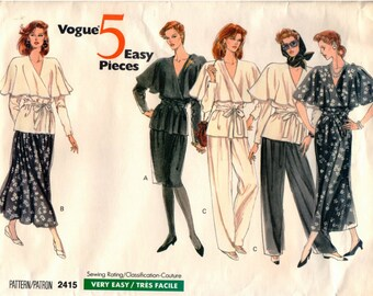 Vintage UNCUT Vogue 5 Easy Pieces Pattern 2415 - Misses Very Easy Wrap Dress, Top, Skirt & Pants - 8-12