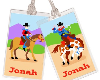 Kid's Personalized Cowboy Name Tag Set