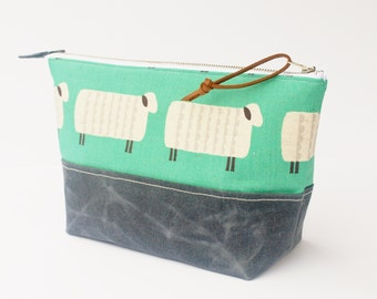 Project Bag, Cosmetic Bag, Canvas Zipper Bag, Grey Waxed Canvas Base, Sheep in Mint
