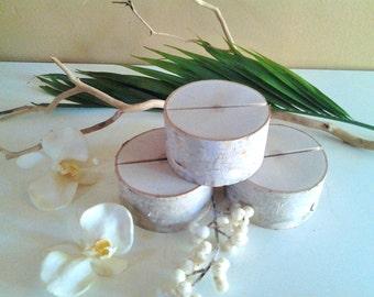 TREASURY ITEM - 30 Wood place card holders - Birch logs - Rustic Wedding Decor - Wedding Table numbers - Table decor