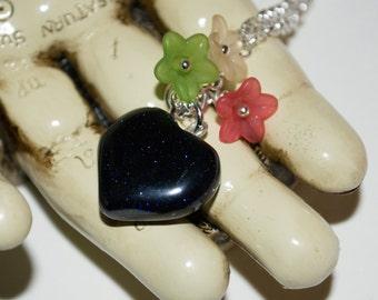 Heart Necklace, Blue Goldstone, Heart and Flower Necklace, Spring Necklace, Glitter Heart, Dark Blue Stone, Heart Pendant, Flower Jewelry