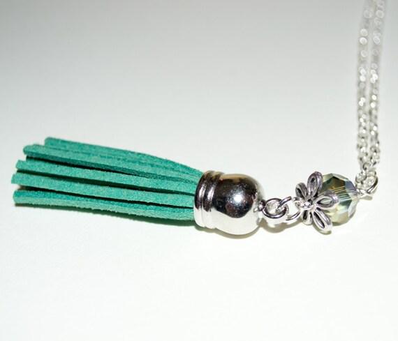 Teal Tassel Necklace, Long Boho Necklace, Boho Jewelry, Long Fringed Tassel Pendant, Layering Necklace, Festival Style, Long Green Tassel