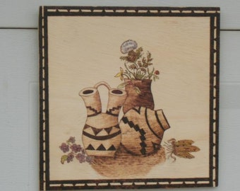 southwest wall hanging wood burned  pyrography picture