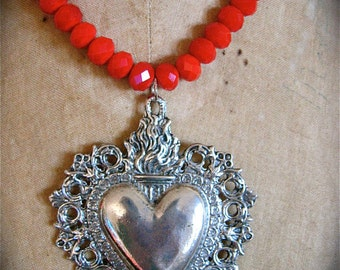 My Beloved- SACRED HEART Pewter Ex voto Necklace- Perfect for your loved one this Holiday