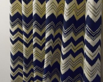 Zazzle Nina Birch 50W x 63, 72, 84, 90, 96, 108, 120 Navy Blue Natural Grey Designer Custom Drapes Curtains Chevron Zig Zag