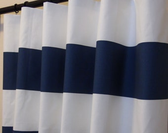 Navy Blue White Cabana Horizontal Stripe Curtains  Rod Pocket  63 72 84 90 96 108 or 120 Long x 24 or 50 Wide, Optional Blackout