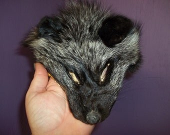 1 real silver fox face hide tanned leather fur animal craft part