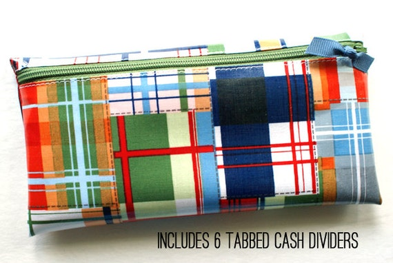 Money envelope with 6 tabbed dividers | plaid designer laminated cotton