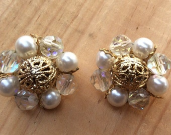 Vintage Gold, Pearl and Iridescent toned Clip On Earrings
