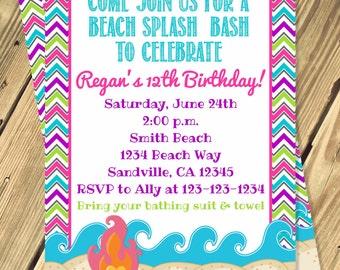 Beach Bash Birthday Invitation Print Your Own