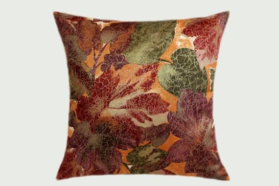 Burgundy Green Throw Pillows : Decorative Pillow case Orange Green Burgundy Gold fabric