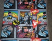 Batman Comic Book panel fleece blanket with crocheted edge