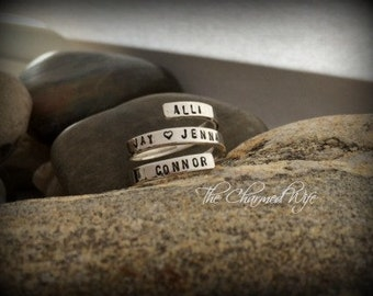 Name Rings - Personalized Name Ring - Hand Stamped Sterling Silver Rings - The Charmed Wife - Mother's Day Gift Ideas - Gifts for Her -
