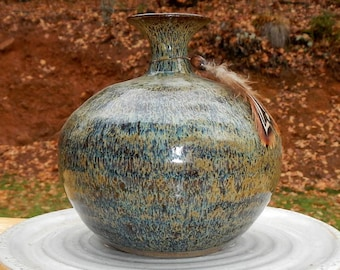 Vintage Ceramic Vase With Feather and Wood Bead Accent