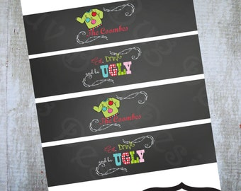 PRINTABLE Ugly Sweater Chalk Water Bottle Labels or Drink Sleeves- Printable party invitations by Luv Bug Design