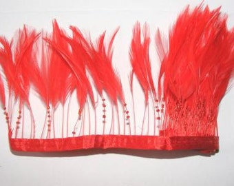 Approx1 metre of Stripped Hackle Feather Fringe on Ribbon - Red