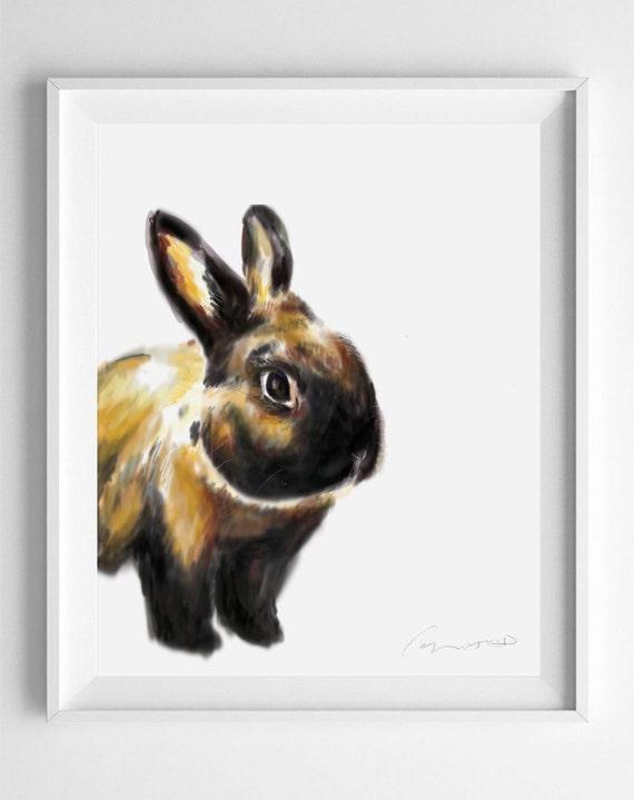 Bunny Art Print, Rabbit Art, Rabbit Painting, Rabbit Print, Cute Rabbit, Nursery Art, Woodland Art, brown, Easter Bunny, Watercolor