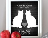 Purrfect Together - Cat Lovers Wedding Print - Custom Date Name Print - Personalized Wedding Gift - Bridal Shower Gift - Unframed