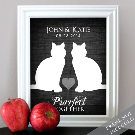 Wedding Gift Ideas For Cat Lovers : Purrfect TogetherCat Lovers Wedding PrintCustom Date Name Print ...
