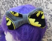 Grey Batman Logo Double Layered Hair Bow/Bowtie/Headband
