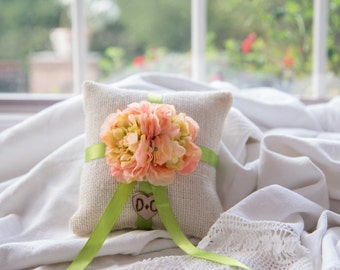 Pink and green flower ivory burlap personalized ring bearer pillow  shabby chic with engraved initials... many more colors available