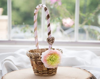 Pink Flower Rustic flower girl basket You personalize with choice of flower