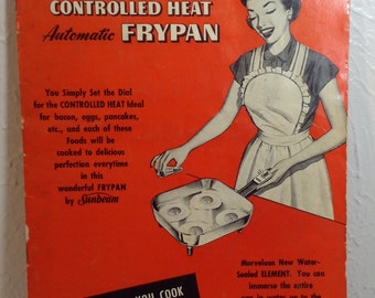 Vintage sunbeam 1953 controlled he automatic fry pan instructions and recipes
