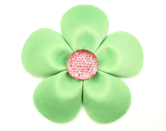 Green Flower Clip, Ribbon Flowers, Baby Girl, Flower Girl, Green Hair Bow, Green Hair Clip, Easter Outfit, Hair Bows, Baby Hair Accessories