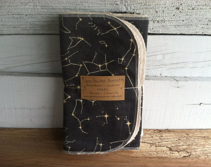 Organic Baby Gift Set, Includes Blanket & Two Burp Cloths - Black Constellation Map