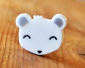 Polar Bear Brooch - Bear Pin Badge - Acrylic Brooch - Animal Lover Brooch - Cute Jewellery Acrylic Jewelry