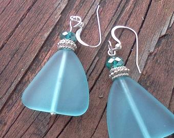 Aqua Sea Glass Dangle Earrings, Sea Glass Earrings