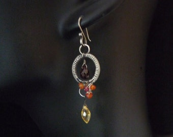 Gothic Victorian simple earrings - sterling silver carnelian garnet ruby citrine OOAK wedding bridesmaid gift  wirewrapped elegant
