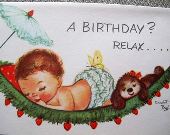 Charlot Byj baby in hammock birthday card / Relax baby birthday card / 1940's small talk get well card