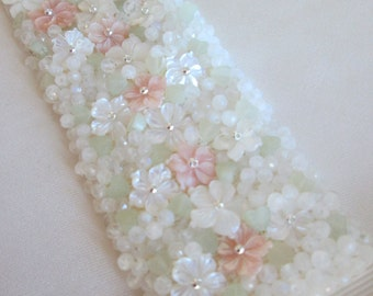 Gemstone beaded bridal belt sash, Exquisite wedding belt sash with Mother of pearl and  moonstone, Pastel beaded waist ssh