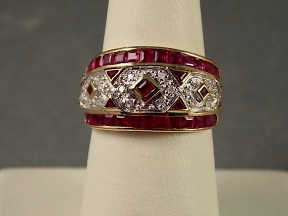ruby and cigar band ring 1 31ctw yellow white gold 14k