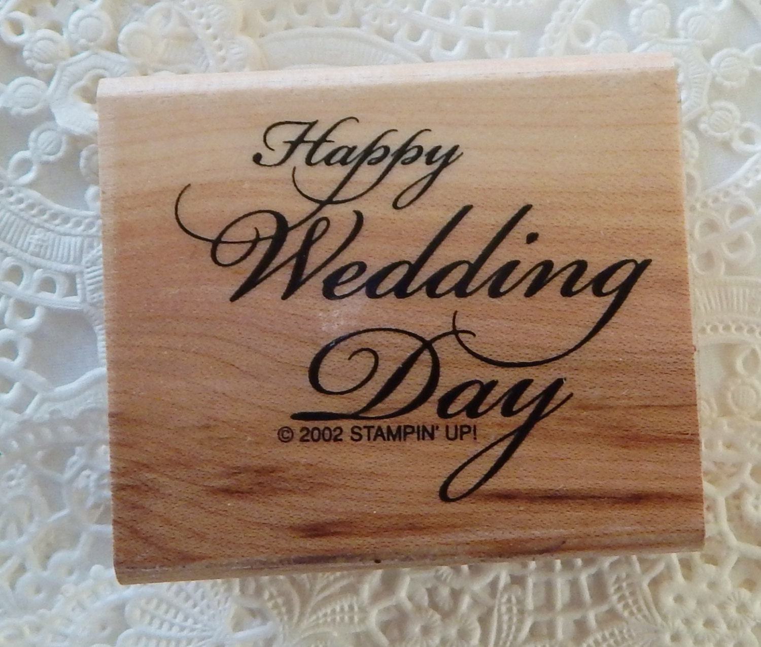 Wedding Day: Happy Wedding Day Rubber Stamp Calligraphy Stampin' Up