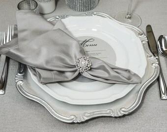 60pcs Wedding Napkin Rings, Rhinestone Wedding Pearl Napkin Rings Table Decor Wedding Bling, 404-S-N