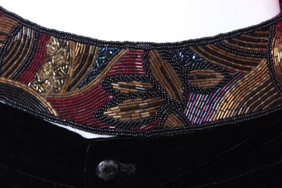 vintage wide beaded belt with velcro back and by thejunkhaus