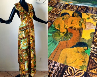 Paul Gauguin Halter Dress Vintage 1970s 70s Hawaiian Dress Tiki Oasis Coachella Festival Dress Ruffle Maxi Dress Hippie Boho Small Medium
