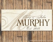 Personalized Wood Family Established Sign, Family Name Sign, Last Name Sign, Wood Plaque, Wedding Sign, Wedding Anniversary Gift