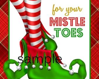 SALE Instant download Printable DIY Digital  2.25 inch mistle toes mistletoes  mistletoe gift tags