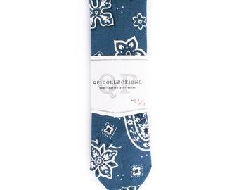 Bandana Blue - Skinny Tie - Wedding - Monogram - Groom