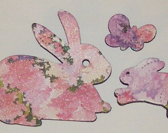 Pink Bunny Rabbits and Butterfly Magnet Set - RECYCLED GREETING CARD - Not a Soda Can