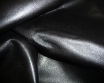 "Leather 8""x10"" EXCEL Black flat Grain very slight shine Plush CALFSKIN 2.5-3 oz / 1-1.2 mm PeggySueAlso™ E1800-01"