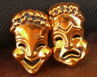 Vintage Renoir Earrings, Comedy Tragedy Drama Masks, Clip Back Retro 1950s Copper Jewelry